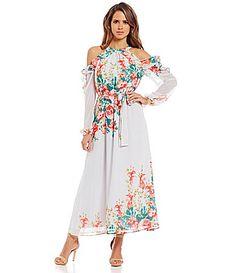 419f711b34d Gianni Bini Amani Cold Shoulder Floral Maxi Dress