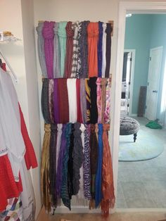 Towel racks to organize scarves! Just did this in my closet. Brilliant!
