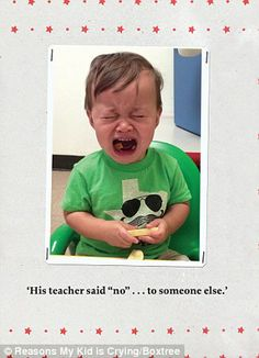 """The """"Reasons My Kid Is Crying"""" Book Is Freaking Hilarious Funny Picture Quotes, Funny Quotes, Funny Memes, Freaking Hilarious, Really Funny, Reasons Kids Cry, Stupid Kids, Crazy Kids, Angry Baby"""
