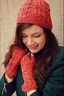 Causerie Hat and Mitts by Julie Crawford. TFA Year In Colour Club - March 2014