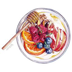 Mixed fruit yogurt with honey Good morning everyone! You super healthy breakfast is ready. I hope you all have a nice day Almond Milk Yogurt, Vegan Yogurt, Fruit Yogurt, Greek Yogurt, Coconut Milk, Mixed Fruit, Mixed Berries, Food Art Painting, Eat Greek