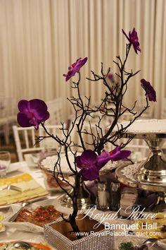 Purple Wedding Centerpiece at Royal Palace Banquet Hall Glendale CA 818.502.3333.