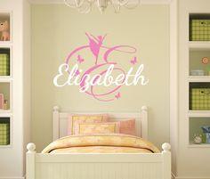 Wall Decals For Girls Name Decal Ballerina Vinyl Sticker Kids Nursery Bedroom Decor T2