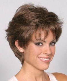 Amanda Wig Woman Lady Short Wavy Soft Layered Hair W/ Tapered Back Brown Blonde Haircut Styles For Women, Short Haircut Styles, Short Hair Cuts For Women, Long Hair Styles, Short Brown Hair, Short Wavy, Brown To Blonde, Short Pixie, Short Hairstyles Fine