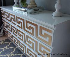 Greek key IKEA dresser hack, just a regular dresser until you put greek key wood layover on it! then pain it gold !