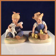 DENIM DAYS #1500  Porcelain Figurines  - COUNTRY Boy w/Ducks & Girl w/Lamb…