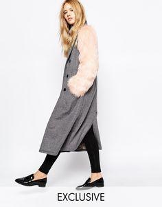 Image 1 - Story of Lola - Long manteau en laine ajusté avec boutons et manches en fausse fourrure
