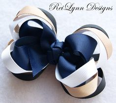 School Uniform Layered Boutique Bow by ReiLynnDesigns on Etsy, $7.25
