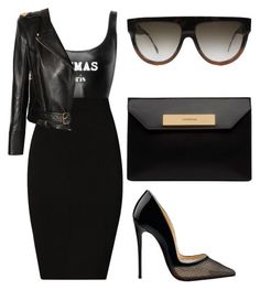 Black⚫️⚫️⚫️ by amoney-1 on Polyvore featuring polyvore fashion style Balmain Plein Sud Balenciaga CÉLINE Christian Louboutin