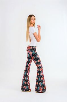 Lauren Festival Bell Bottoms by BOHOGINI. Colorful bell pants with elastic waistline and high waisted. Made with Love in Poland. Shop anywhere, ship everywhere - WORLDWIDE SHIPPING !!! WWW.BOHOGINI.COM