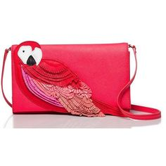 Kate Spade Flights Of Fancy Parrot Cali ($298) ❤ liked on Polyvore featuring bags, handbags, shoulder bags, cross body, leather cross body purse, red shoulder bag, crossbody purse, red leather shoulder bag and leather crossbody
