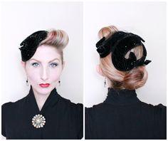 1950s Hat / VINTAGE / 50s Hat / Swirls / Fascinator / Rhinestones / Black Velvet / PRETTY by HighHatCouture on Etsy