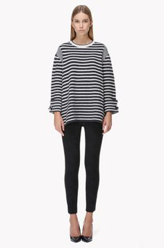 [MINE] Stripe mixed flare knit