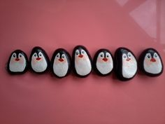 Pens!  - 7 cute penguins painted on rocks