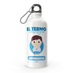 Termo - El termo del mejor entrenador, encuentra este producto en nuestra tienda online y personalízalo con un nombre. Lemonade, Water Bottle, Drinks, Engineer, Carton Box, Sons, Training, Store, Creativity