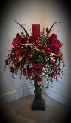 Christmas floral arrangement candle stick centerpiece tall holiday floral magnolia christmas old world christmas shipping included Old World Christmas, Noel Christmas, Rustic Christmas, Christmas Wreaths, Christmas Ornaments, Handmade Christmas, Advent Wreaths, Nordic Christmas, Etsy Christmas