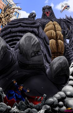 The Man of Steel vs the King of the Monsters by DR-Studios