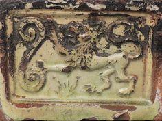 Antique 16th or 17th C Dutch Stoneware Pottery Hearth Tile - Heraldic Lion - PT