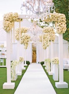 Image result for outdoor wedding aisle decorations
