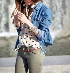 Olive pant, brown belt, polkadots and chambray.