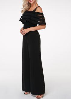 5204e29f131 Strappy Cold Shoulder Black Overlay Embellished Jumpsuit
