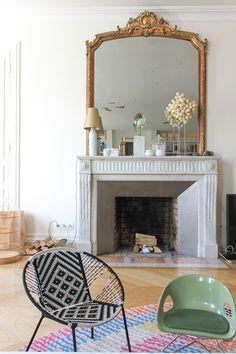 Miroir ancien Louis-Philippe - Miroir cheminée doré - Glace dorée ...