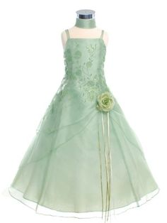 Sage Caviar Embroidered Organza Flower Girl Dress (Sizes in 11 Colors) - Junior Bridesmaid Dresses - JUNIOR Junior Bridesmaid Dresses, Junior Dresses, Wedding Dresses, Organza Flowers, Bridesmaids And Groomsmen, Dress For You, Sage, Flower Girl Dresses, Celebs