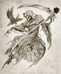 Grim Reaper with clock