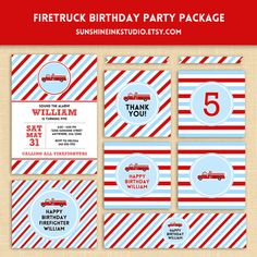 Firetruck Firefighter Birthday Party Custom Printable Party Package on Etsy, $25.00