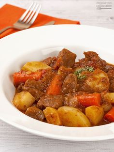 This is our favorite beef stew recipe - a simple combination of ingredients cooked to flavorful perfection in a pressure cooker.
