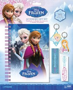 #disneyfrozen - 50% OFF. http://bucksme.com/share/3331  Excite little fans of Disney Frozen with this lovely gift set, perfect for a birthday treat. Thes set contains a useful chunky ruled notebook with a purple wiro spine amnd elastic closure, 2 rubber keyrings of chracters Anna and Elsa and 2 rubber wristbands.