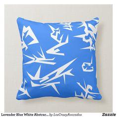Lavender Blue White Abstract Art Cushion Pillow