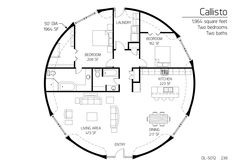 1,964 square feet, 2/2 monolithic dome for retirement home.  Change up master bathroom, no need for a soaking tub.