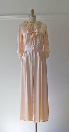 vintage 1930s silk robe / 30s lingerie / Cherry Blossom