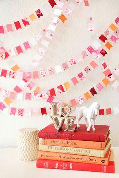 Valentine Paper GARLAND 15' Sugary Sweet Kisses, Home Decor, Birthday, Holiday, Valentines
