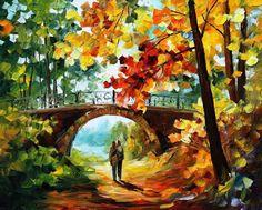 Golden Fall PALETTE KNIFE Landscape Oil by AfremovArtStudio