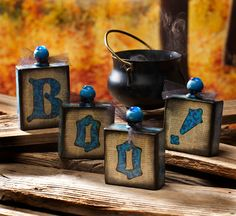How to make Mod Podge BOO blocks from leftover pieces of 2 x 4!
