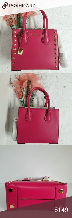 337561735a604 Michael Kors Mercer MD Messenger New With Tag Michael Kors Mercer STUD MD  Messenger Leather Color Ultra Pink PRICE IS FIRM NO TRADE Michael Kors Bags  ...