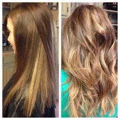 Peekaboo highlights on light brown hair