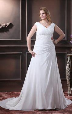 604b481bb560 Elegante Weiß Brautkleider Große Größe Günstig Träger A Linie Chiffon  Übergröße Hochzeitskleider Modellnummer  BW-003