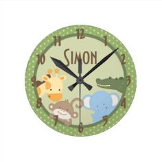 Safari Adventure Jungle Zoo Personalised Clock