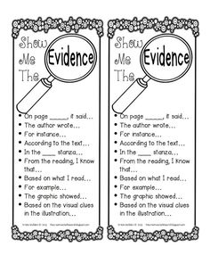 Show Me the Evidence free printable. Useful sentence starters for citing text evidence in student writing. Reading Strategies, Reading Skills, Reading Comprehension, Comprehension Strategies, Reading Practice, Reading Passages, Reading Groups, Reading Activities, Third Grade Reading