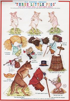 The Three Little Pigs cut-out paper doll & costume sheet