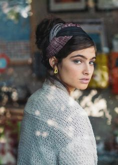 "Bordeaux & Gray ""Infinity"" Half Head Covering -ModLi.co $38.00"