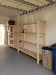 Easiest DIY Garage shelving unit - free plans! Garage, ideas, man cave, workshop, organization, organize, home, house, indoor, storage, woodwork, design, tool, mechanic, auto, shelving, car. #garagedesign