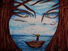 Kimberly Schwarzkopf's artwork has moved! Optical Illusion Paintings, Optical Illusions Pictures, Illusion Pictures, Art Optical, Op Art, Fantasy Paintings, Fantasy Art, Art Visage, Ouvrages D'art