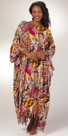 3667b359ed Sante Rayon Woven Kaftan - Fringed Hemline in Sonoma Abstract Night Gown,  Kaftan, Hemline