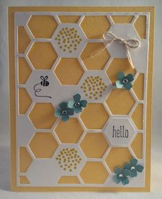 Stampin Up Honeycomb Hello hexagon hive card using dies and new 2014 stamp set. Daffodil Delight and Lost Lagoon cute as thank you, birthday, hello, mother's day card Designed by Gloria Kremer for Convention Swaps. Facebook me: Girlfriend Originals