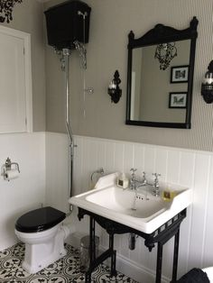 Bathroom - Burlington high level toilet, mirror & classic washstand in black