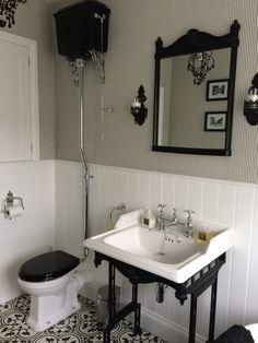 Bathroom   Burlington High Level Toilet, Mirror U0026 Classic Washstand In Black